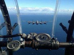 Lancaster bomber, seen from the rear turret of another Navy Aircraft, Ww2 Aircraft, Fighter Aircraft, Military Aircraft, Fighter Jets, Military Jets, Lancaster Bomber, Ww2 Planes, Royal Air Force