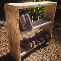 Reclaim scaffold boards up-cycled into a shoe-rack/shelving unit Wood Shelves, Shelving, Pallet Projects Signs, Wood Projects, Rustic Bookcase, Diy Pallet Furniture, Reclaimed Furniture, Wood Furniture, Scaffold Boards