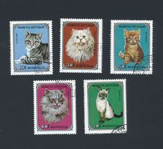 Mongolia stamps - lot of 5 cats - (lot 43)