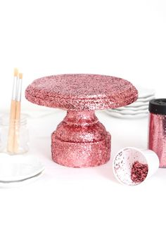 Cake Pop Stands, Cake And Cupcake Stand, Cupcake Cakes, Cupcakes, Glitter Candles, Glitter Cake, Pillar Candle Holders, Pillar Candles, Cake Pillars