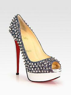 Christian Louboutin #heels #pumps #shoes Studded heels = convenient for self defense haha