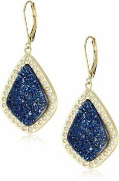 "Marcia Moran ""Midnight"" 18K Gold-Plated Dark Blue and Cubic Zirconia Drop Earrings Marcia Moran. $155.94. Made in Brazil. Dark blue druzy organic diamond shaped earrings surrounded by cubic zirconias. Made in BR. Save 20%!"