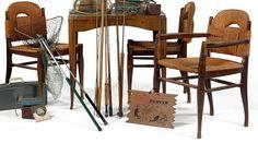 ÉMILE JACQUES RUHLMANN (1869-1933)  Table à jeux modèle «Rendez-vous des pêcheurs de truites» en bois naturel teinté. Fraysse & Associés - 15/04/2015