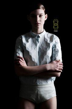 fb172c42ad White shirt with textured cube patterns - fabric manipulation  innovative  textiles for fashion design    Alba Prat