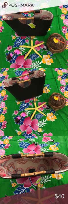NWT PUTU Woven Straw Bag NWT Gorgeous Casual Chic Woven Straw Bag By PUTU! Bought in a boutique store in hamptons. Color is a rich chocolate brown. Gold tone hardware. Feet on bottom. Bamboo handles. Snap closure. Inside of Bag lined in off white with multicolored design. 1 zipper compartment. 1 slip compartment. Dog leash hook to hold keys. Great paired with a maxi dress & sandals for a vacation, casual day, or beach. NO TRADES. PUTU Bags