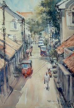 Street in Galle Fort, Sri Lanka No.2 (watercolor, 42x59 cm)