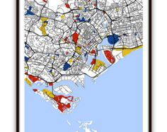 Marseille Map Art / Marseille France Wall Art / by MondrianMapArt