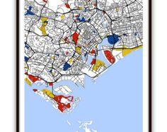 Marseille Map Art / Marseille France Wall Art / by MondrianMapArt