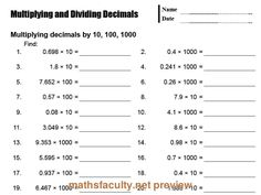 math worksheet : how to divide decimals by 10 1001000 fast  youtube  school  : Dividing And Multiplying Decimals Worksheets