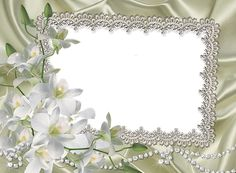 Transparent Frame with White Lilium Flowers