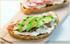 tartine with pear, avocado, ricotta and prosciutto