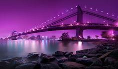 Manhattan Bridge New York City Lights