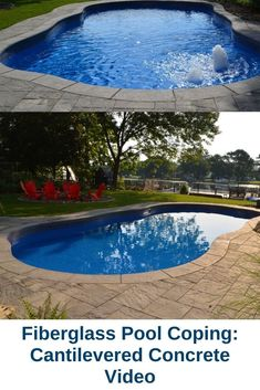 Watch our video for an overview of your fiberglass pool coping options! Fiberglass Pool Installation, Fiberglass Swimming Pools, Pool Coping, Stamped Concrete, Backyard, Patio, Pool Ideas, North America, Landscaping