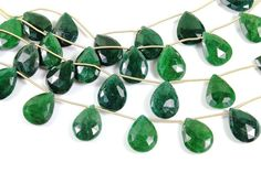 Natural dyed Emerald faceted pear gemstone drop by Beadspoint, $69.99