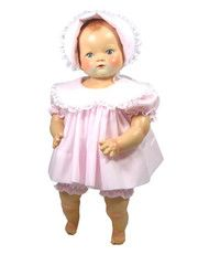"""One-piece outfit  and Bonnet  fits 20/"""" Thumbelina and 20-23/"""" Reborn dolls"""