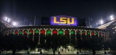 The holiday spirit at Tiger Stadium. #LSU