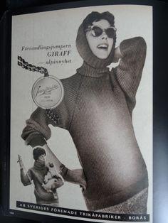 """""""Förvandlingsjumpern GIRAFF - alpinnyhet. Jersey Modeller Borås. Ren ullvara."""" AB Sveriges förenade trikåfabriker, Borås I 1959"""