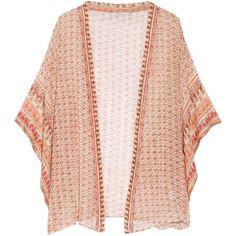 Mes Demoiselles Ipanema printed cotton kimono ($160) ❤ liked on Polyvore featuring tops, cardigans, jackets, kimono, chalecos, orange, pink slip and cotton slip