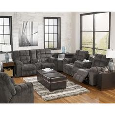 Signature Design by Ashley Acieona - Slate Reclining Sectional with Left Side Loveseat Cup Holders  sc 1 st  Pinterest : marlo furniture sectional sofa - Sectionals, Sofas & Couches