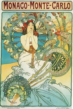 """""""Monaco Monte Carlo,"""" Alphonse Mucha 1897. The pensive female figure seems mesmerized by the plethora of stylized plant forms surrounding her. Vintage Travel, Vintage Ads, Vintage Posters, Art Posters, Monte Carlo, Charlene De Monaco, Alphonse Mucha, Canvas Wall Art, Cool Art"""
