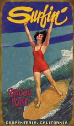 Surfin Cutie (516) Surfer Girl - - Plage vintage signes par Meissenburg Designs. ....reépinglé par Maurie Daboux ❥•*`*•❥