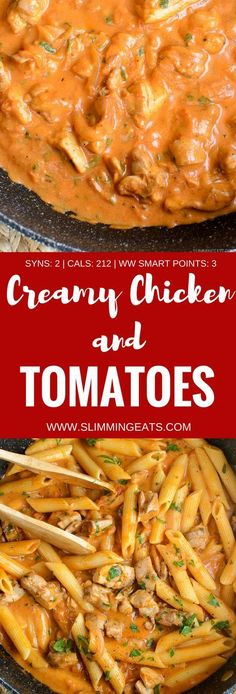 Low Syn Creamy Chicken and Tomatoes - gluten free, Slimming World and Weight Watchers friendly astuce recette minceur girl world world recipes world snacks Slimming World Dinners, Slimming Eats, Slimming Recipes, Slimming World Recipes Syn Free Chicken, Slimming World Lunch Ideas, Slimming World Free, Cheap Meals, Easy Meals, Cheap Family Meals