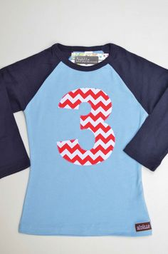 Kids 3rd Birthday Shirt Nautical Chevron Red White Navy by Aidille, In stock!