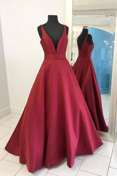 Simple v neck satin long prom dress, red evening dress