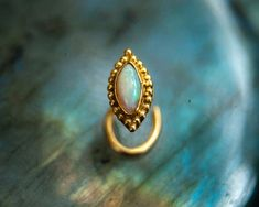 Gold Nose Stud Opal Nose Screw- Unique Nose Stud- Nostril Pin- 22K Solid Gold Body Jewelry- Boho Tribal