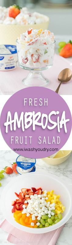 I took this Ambrosia Fresh Fruit Salad to a pot luck and it was the first thing gone! So simple, fresh and easy! I will definitely be making over and over again! (birthday treats fruit)