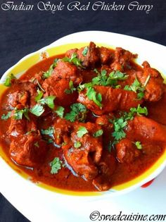 Indian Style Spicy Red Chicken Curry Recipe- Red Chicken Curry- Chicken in Red Masala Gravy 255 cal, protein in recipe (light meat chicken and whole milk yogurt) Fried Fish Recipes, Veg Recipes, Spicy Recipes, Curry Recipes, Indian Food Recipes, Asian Recipes, Vegetarian Recipes, Chicken Recipes, Cooking Recipes