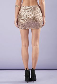 Sequined Abstract-Patterned Skirt