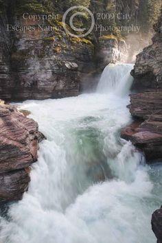 Limited Edition Nature Art Print. St. Mary's Falls -- Glacier National Park. Landscape photograph:  Waterfalls, Glacier National Park, Montana, Waterfall, Water, St Marys Falls