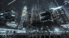 Ad: Singapore cityscape with futuristic network connection. Next Wallpaper, Retro Wallpaper, Environment Concept Art, Environment Design, Ancient Egyptian Cities, Traverse City Michigan, Holography, Cinema Camera, Futuristic City