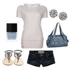 """""""Ride the Wave"""" by blue-star-marie ❤ liked on Polyvore featuring Bench, Abercrombie & Fitch, Antik Batik, Butter London, Lois Hill, blue, multi-strap sandals and jean shorts"""