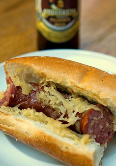 Crock Pot Beer And Brown Sugar Kielbasa & Sauerkraut Sandwiches...perfect for Octoberfest time!