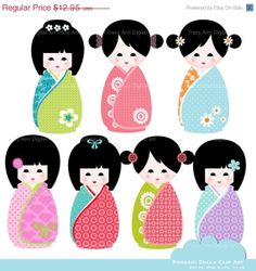 SALE 40 OFF Kawaii Kokeshi Dolls Clip Art  by TracyAnnDigitalArt, $7.77