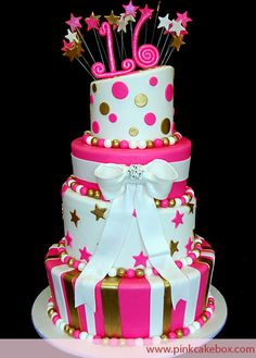 Pink and gold sweet 16 cake