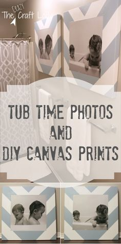 Bath Time Photos and DIY Canvas Prints Tutorial - I love this idea for a bathroom decoration! When kids were babies not now. Diy Craft Projects, Home Projects, Handmade Home, Kid Bathroom Decor, Master Bathroom, Little Boy Bathroom, Bathroom Canvas Art, Restroom Decoration, Shared Bathroom