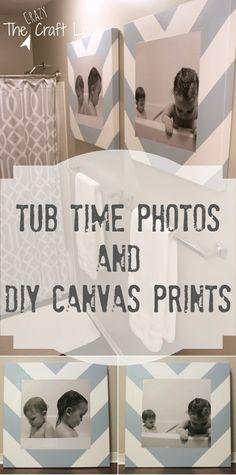 Bath Time Photos and DIY Canvas Prints Tutorial - I love this idea for a bathroom decoration! So cute.