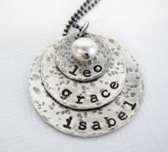 Personalized Mothers Necklace - Rustic Hand Stamped Jewelry - Sterling Silver