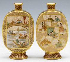Par de vasos em porcelana Japonesa Satsuma do sec.19th, Periodo Meiji, 11cm de altura, 8,570 EGP / 3,000 REAIS / 995 EUROS / 1,130 USD https://www.facebook.com/SoulCariocaAntiques