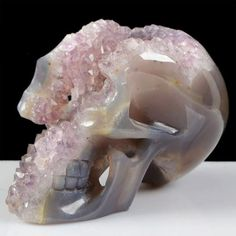 "Huge 4.0"" Gothic Natural Agate Druzy Geode Carved Skull/Skeleton,Carving S0406 #Alicejewelry"