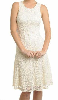 Sleeveless Scoop Neck Lace Sheath Dress Knee Length Cream Lace Dress Sz 0,2,4