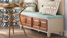 Turn stock cabinets and MDF into a stylish bench suitable for a spot in a dining area, at the end of a bed, or in an entryway. Diy Furniture Projects, Furniture Makeover, Home Projects, Craft Projects, Stock Cabinets, Bench Plans, Painted Furniture, Laminate Furniture, Repurposed