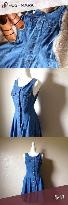 """Vintage Sleeveless Fit And Flare Denim Dress Absolutely stunning vintage denim dress by Squeeze Jeans, features button up front, two chest pockets, fit and flare silhouette and flattering vertical seams. Excellent gently used condition, size 5/6. Approximately 36"""" bust, 27"""" waist and 34"""" full length. I happily entertain reasonable offers  Vintage Dresses Mini"""
