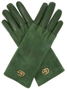 Gucci - Gg Plaque Suede And Leather Gloves - Womens - Green Women Accessories, Fashion Accessories, Gloves Fashion, Tailored Coat, Future Clothes, Princess Outfits, Green Suede, Leather Gloves, Long Hairstyles