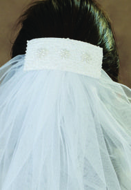Flat style Barrette with beading and attached veil.