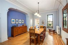 Brooklyn Brownstone for Sale in New York City, NY by Vandenberg Inc.     An open floor plan, high ceilings, and over-sized windows create a feeling of depth and breadth.  Stretch out and relax in the elegant, airy parlour floor, with its spacious dining room and unbroken sight lines.     #brooklyn #brownstone #realestate #townhouse
