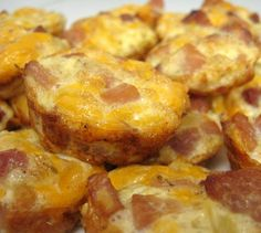Mini ham and cheese frittatas/ could also use breakfast sausage and/or some extra veggies